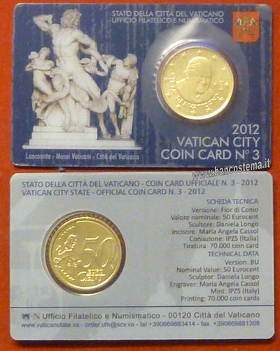 Vaticano coin card 50 cent nr.3 2012