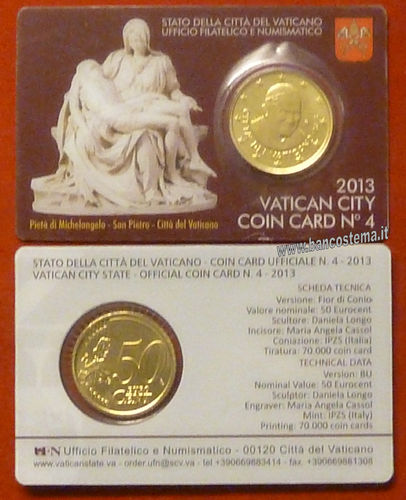 Vaticano coin card 50 cent nr.4 2013