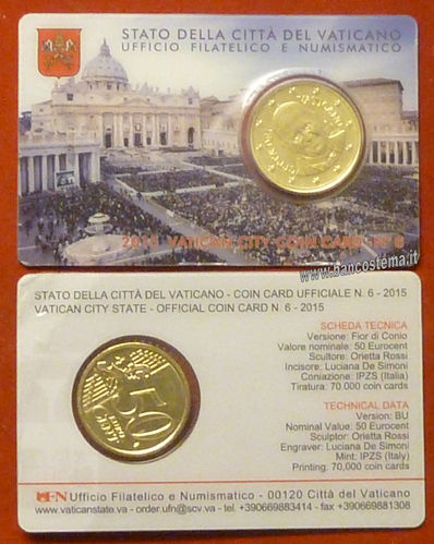 Vaticano coin card 50 cent nr.6 2015