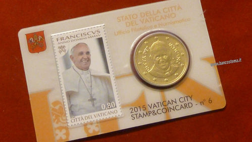 Vaticano coin card 50 cent + stamp  nr.6 2015