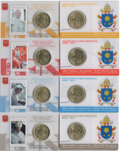 Vaticano coin card 50 cent + stamps nr.6-7-8-9  2015 fdc