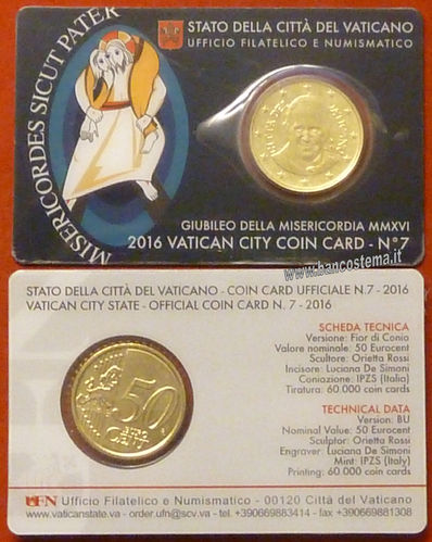 Vaticano coin card 50 cent nr.7 2016