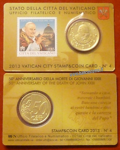 Vaticano coin card and stamp 50 cent nr.4 2013
