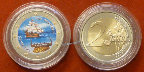 "Portogallo 2 euro commemorativo ""Timor"" 2015 Color fdc"