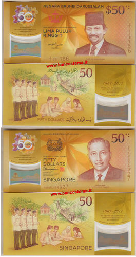 Brunei 50 Ringgit + Singapore 50 Dollars commemorative 2017 unc polymer