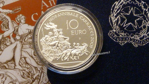 "Italia 10 euro argento commemorativa ""Annibale Carracci"" 2009 Proof"