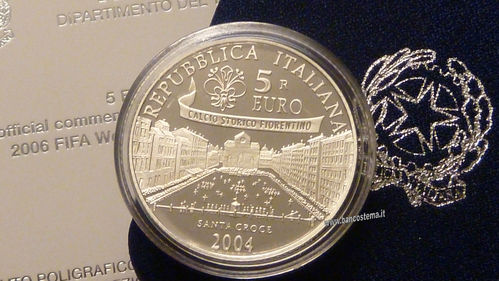 "Italia 5 euro argento commemorativa ""2006 Fifa World Cup Germany"" 2004"