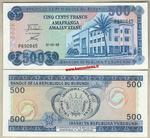 Burundi 500 Francs Native Painting//Bank//p45a UNC 01.05.2009