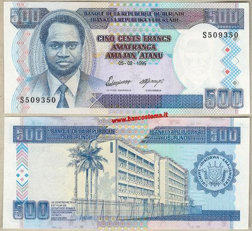 Native Painting//Bank//p45a UNC 01.05.2009 Burundi 500 Francs