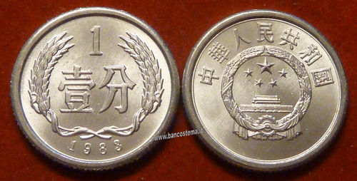 China KM1 1 Fen 1983 (1985) unc