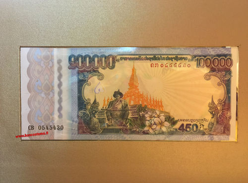 Laos P40 100.000 Kip commemorativa 2010 + folder