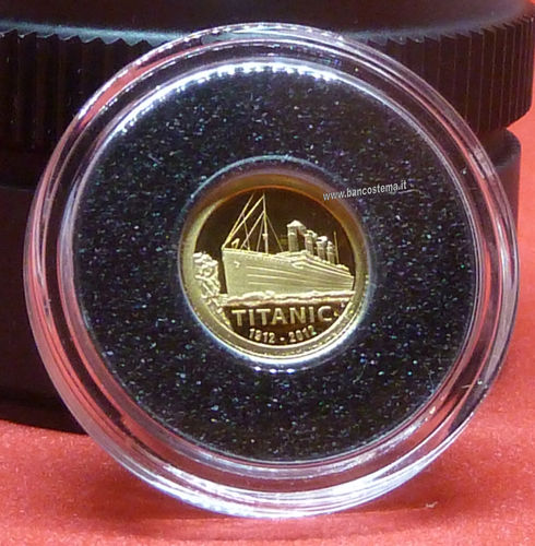Cook Islands Km1375 1 Dollar 2002 commemorativa Titanic Oro/Gold proof unc