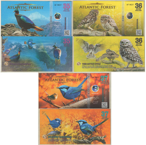 Atlantic Forest 35-36-37 aves dollars set 3 pz. dicembre 2017 (2018) paper unc