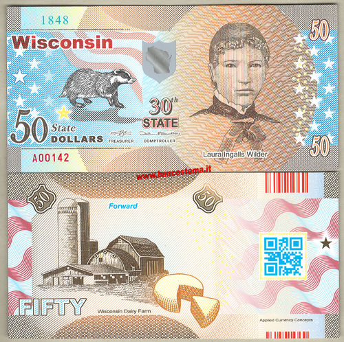 Usa 50 dollars - Wisconsin 30th State  - polymer