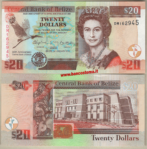 Belize P72 20 Dollars 01.01.2012 commemorativa unc