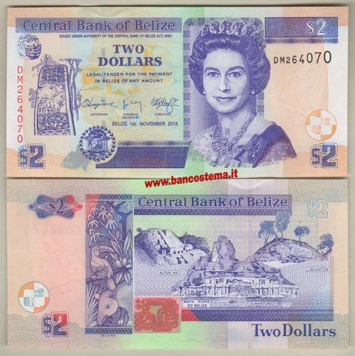Belize P66e 2 Dollars 01.11.2014 unc