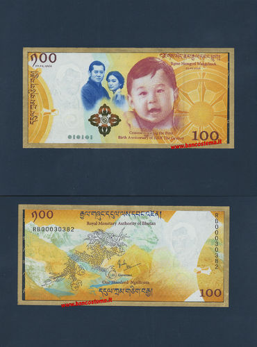 Bhutan 100 Ngultrum commemorativa 2018 unc + folder