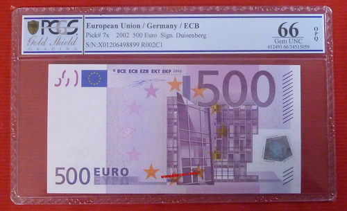 European Union P7x - Germany 500 euro Duisemberg gem unc 66 PCGS