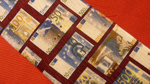 Cravatta con euro banconote colore bordeaux