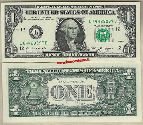 "Usa 1 Dollars ""L"" 2013 unc San Francisco"