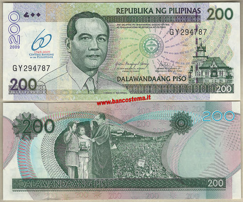 Philippines P203 200 Piso commemorativa.60° Central Banking (1949-2009) unc