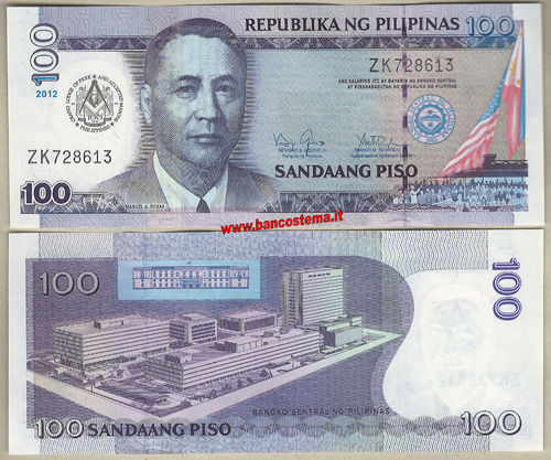 Philippines P213A 100 Piso commemorativa.100° free Masons 2012 unc