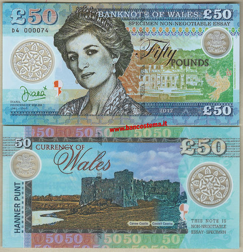 Wales 50 pounds 2017 unc polymer