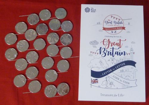 United Kingdom coin Hunt Quintessentiallly British A to Z letter by letter in folder