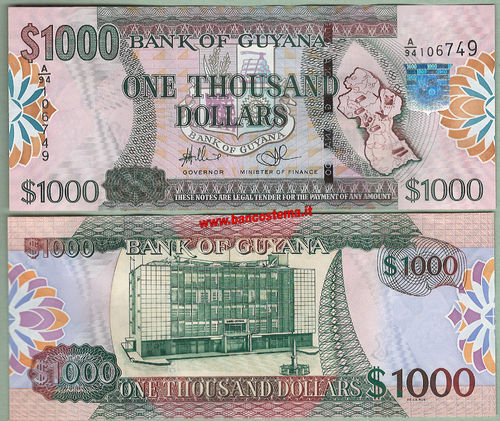 Guyana P38b 1.000 dollars nd (2011) unc