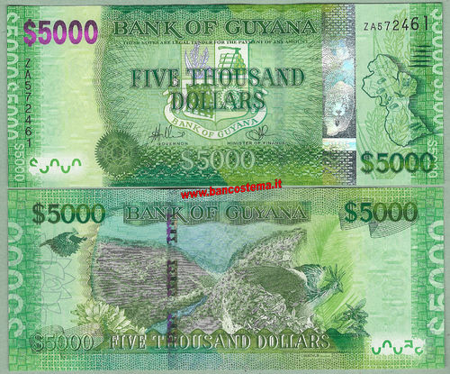 Guyana P40 5.000 dollars nd (2013) replacement unc