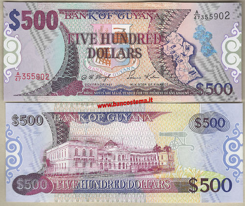 Guyana P34b 500 dollars nd (2002) sign.12 unc