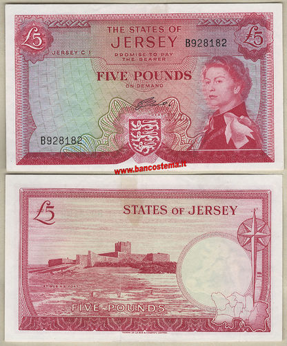 Jersey P9b 5 Pounds nd 1963 aunc -