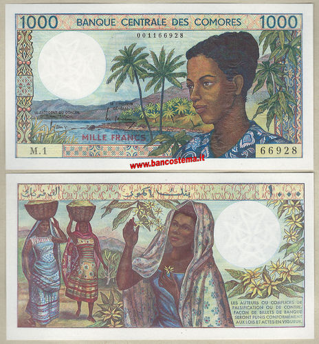 Comoros P11a 1.000 Francs nd (1984-2004) unc