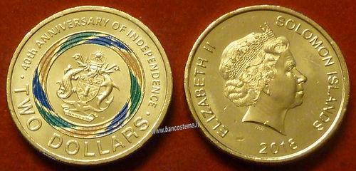 Solomon Islands 2 Dollars commemorativa 40°anniv.indipendenza 2018 color unc