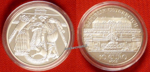 "Austria 10 euro commemorativo 2003 ""Schloss Hof Castle"" argento proof"