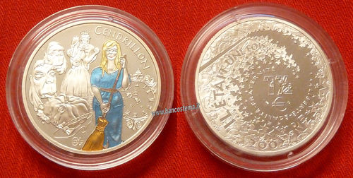 "Francia 1,5 euro commemorativo  ""Cenerentola"" 2002 argento color proof"
