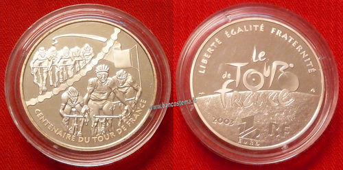 "Francia 1,5 euro commemorativo  ""Sprint"" 100° anniversario del Tour de France 2003 argento proof"