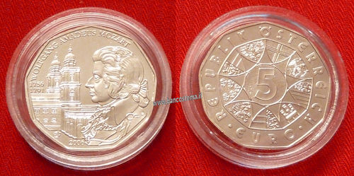 Austria 5 euro commemorativo 2006 250th Anniversary of Wolfgang Amadeus Mozart argento unc