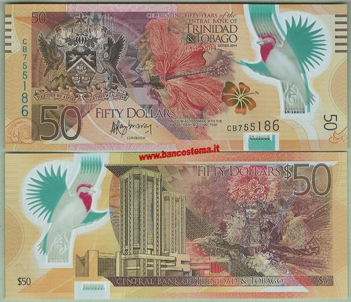 Trinidad and Tobago P54 50 Dollar 2014 polymer unc