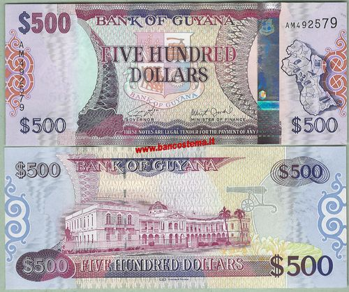 Guyana 500 dollars nd (2018) serie AM unc