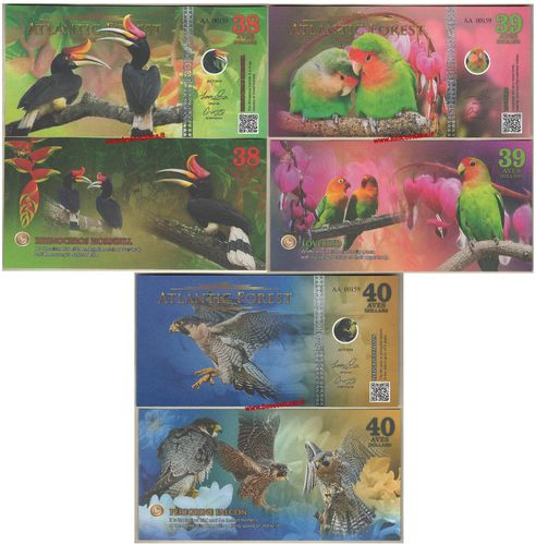 Atlantic Forest 38-39-40 aves dollars set 3 pz. luglio 2018 paper unc