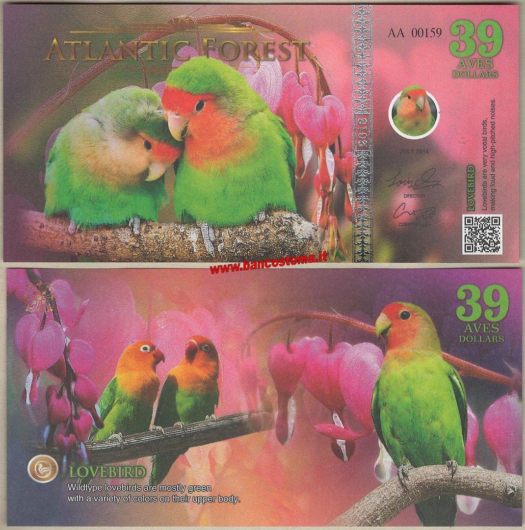 Atlantic Forest 39 Aves Dollars 2018 Lovebird Unc
