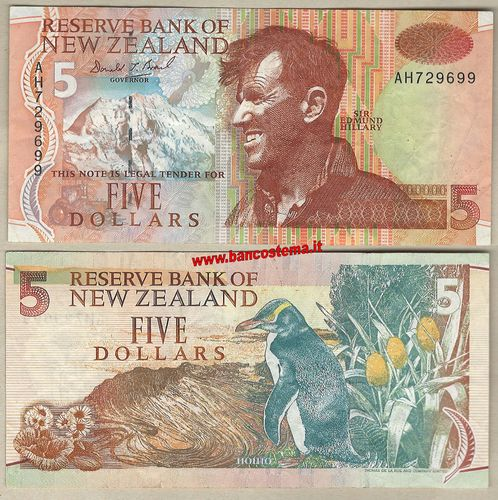 New Zealand P185a 5 Dollars 1999 vf