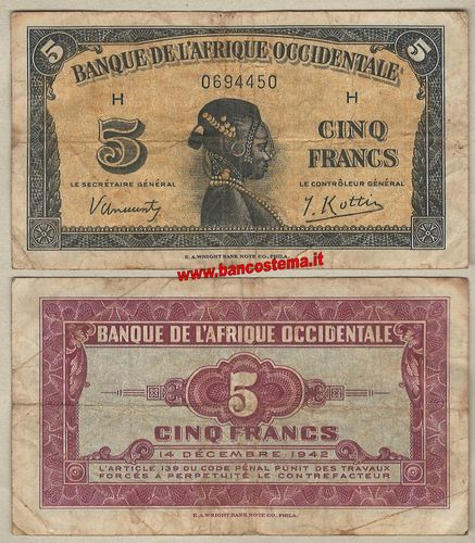 French West Africa P28a 5 Francs 14.12.1942 vf
