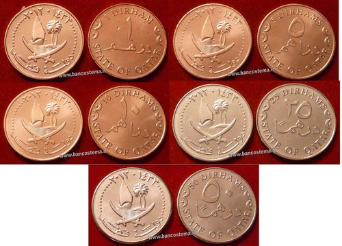 Qatar set 1-5-10-25-50 Dirhams 2012 unc