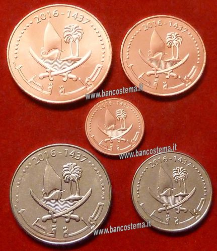Qatar set 1-5-10-25-50 Dirhams 2016 unc