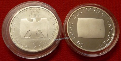 "Germania 10 euro commemorativo 2002 ""German Television"" argento fdc"