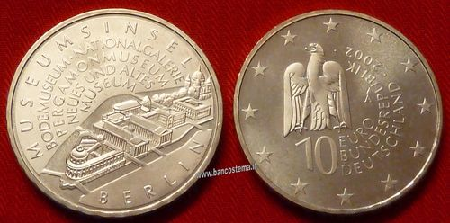 "Germania 10 euro commemorativo 2002 ""Museum in Berlin"" argento fdc"