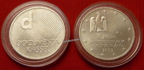 "Germania 10 euro commemorativo 2002 ""Documenta Literature Fair"" argento fdc"