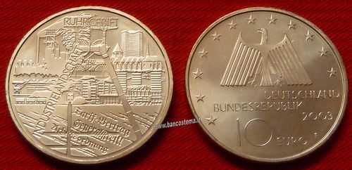 "Germania 10 euro commemorativo 2003 ""Ruhr Industrial District"" argento fdc"